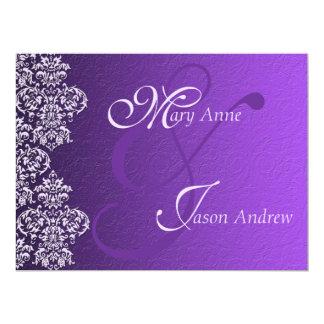 Damask Royal Purple Wedding Invitation Card