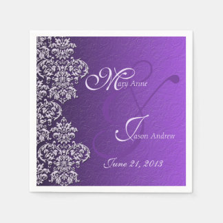 Damask Royal Purple Wedding Paper Napkins