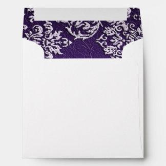 Damask Royal Purple Wedding Square Envelope