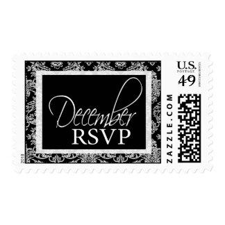 Damask RSVP December Event Postage - Customized