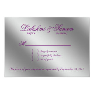 Damask RSVP Wedding Reply Sparkle Purple Silver Card