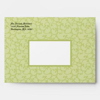 Damask Sage Green A7 Envelopes