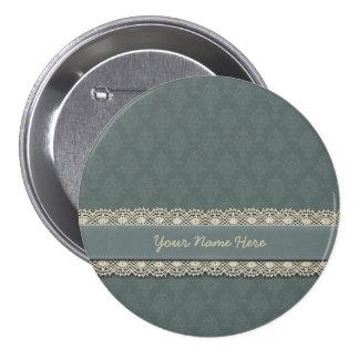 Damask Sage Green Tone on Tone Button