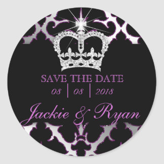 Damask Save Date Wedding Stickers Purple Crown