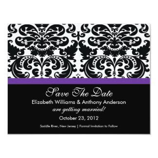 Damask Save The Date Announcement Eggplant