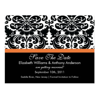 Damask Save The Date Coral Rose POSTCARD!