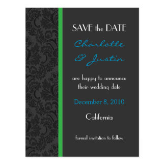 damask; save the date postcard