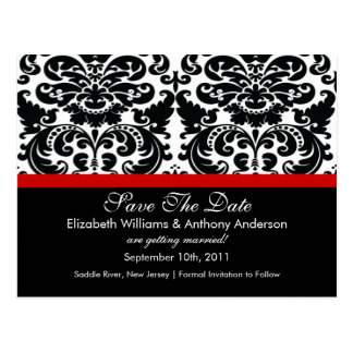 Damask Save The Date Red POSTCARD!