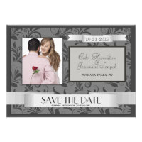 Damask Save the Date Silver Grey with Photo Personalized Invitations