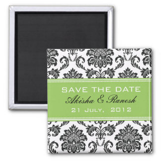 Damask Save the Date Wedding Announcement 2 Inch Square Magnet