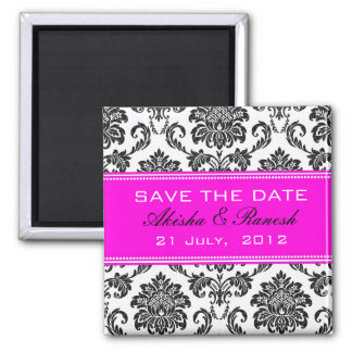 Damask Save the Date Wedding Announcement Refrigerator Magnets