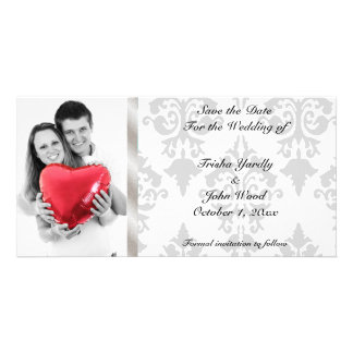 Damask Save the Date Wedding Photo Greeting Card