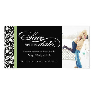 Damask  Save The Date with Green Accent Colour Custom Photo Card
