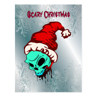 Damask Scary Christmas Santa Skull Postcard