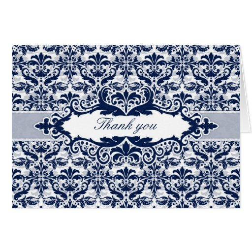 Damask & Scroll Frame Thank You card (Navy Blue)