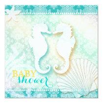 Damask Sea Horse Beach Baby Shower Card