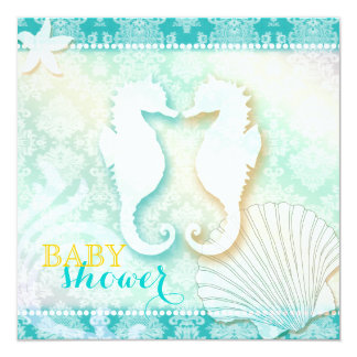 Damask Sea Horse Beach Baby Shower Card