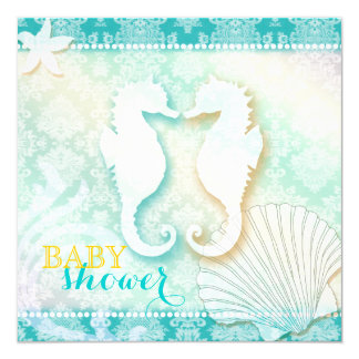 Damask Sea Horse Beach Baby Shower Invitations
