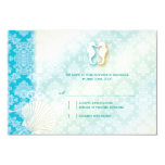 Damask Sea Horse Summer Beach Wedding RSVP (3.5x5) 3.5x5 Paper Invitation Card
