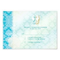 Damask Sea Horse Summer Beach Wedding RSVP Card