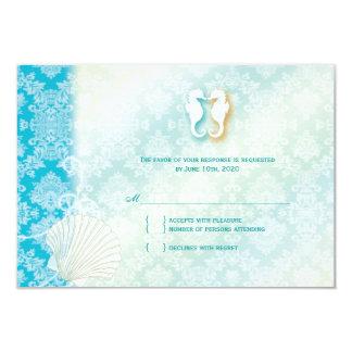 Damask Sea Horse Summer Beach Wedding RSVP Card