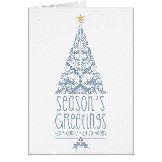 Damask Season's Greetings Tree Greeting Card