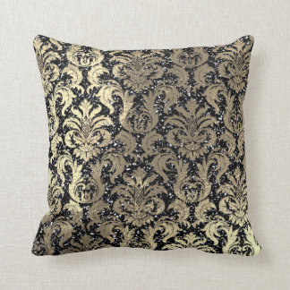Damask Sepia Gold  Metallic Black Glitter Throw Pillow