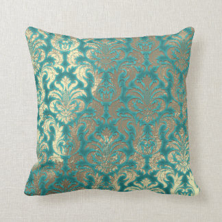 Damask Sepia Gold  Metallic Mint Blu Velvet Effect Throw Pillow