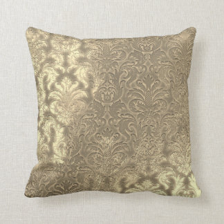 Damask Sepia Gold  Metallic Velvet Effect Throw Pillow