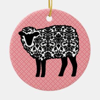 Damask Sheep Christmas Tree Ornament