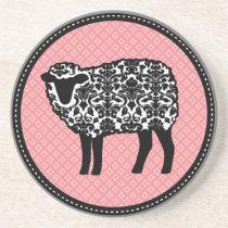 Damask Sheep Pink Coaster