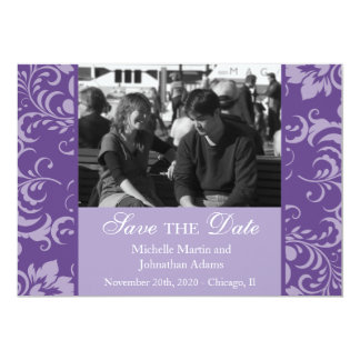 Damask Sides Photo Save The Dates (Purple) Card