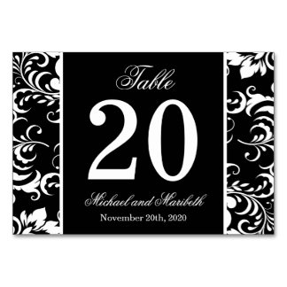 Damask Sides Table Numbers (Black / White)
