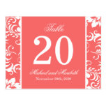 Damask Sides Table Numbers (Coral Peach / White) Postcard