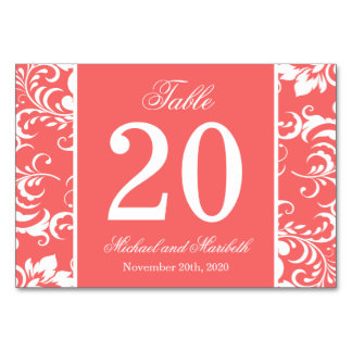 Damask Sides Table Numbers (Coral / White)