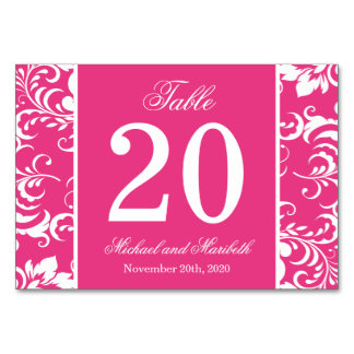 Damask Sides Table Numbers (Dark Pink / White)