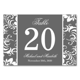 Damask Sides Table Numbers (Gray / White)