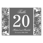 Damask Sides Table Numbers (Gray / White) Table Card