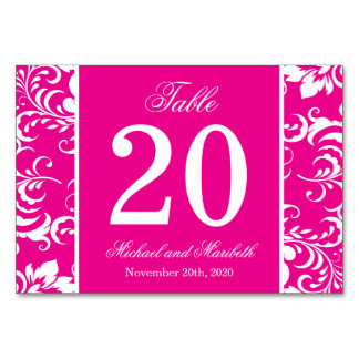 Damask Sides Table Numbers (Magenta Pink / White)