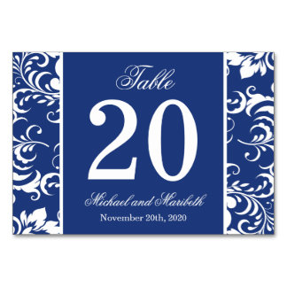 Damask Sides Table Numbers (Navy Blue / White) Card