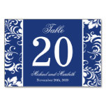 Damask Sides Table Numbers (Navy Blue / White) Table Card