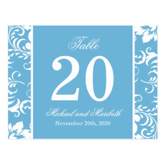Damask Sides Table Numbers (Sky Blue / White) Post Card