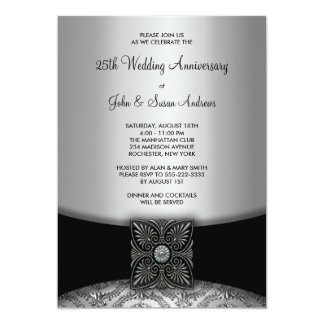 Damask Silver 25th Anniversary Party Card