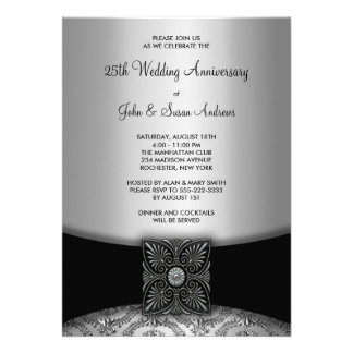 Damask Silver 25th Anniversary Party Invitations