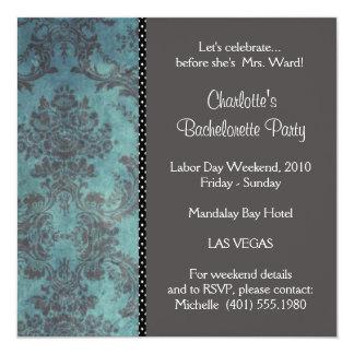 damask silver; bachelorette invitation