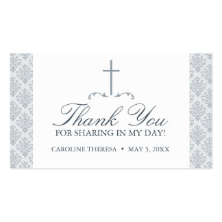 Damask Silver Gray with Cross FAVOR CARD