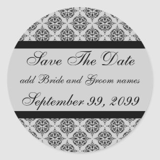 Damask Silver Save The Date Reminders Classic Round Sticker