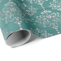 Damask Silver Teal Aquatic Ocean Royal Ornament Wrapping Paper
