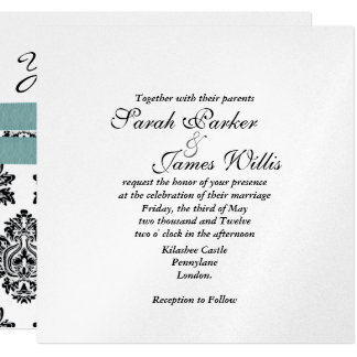 Damask Silver & turquoise metallic Wedding Invite