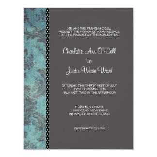 damask silver; wedding card